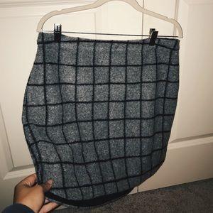 MADEWELL Black and Grey Pin Stripe Skirt